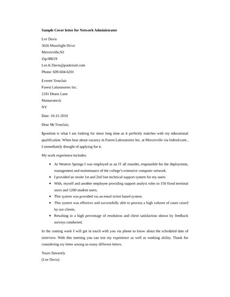 network administrator cover letter basic network administrator cover letter sles and templates