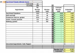 menu costing template restaurant inventory recipe costing menu profitability