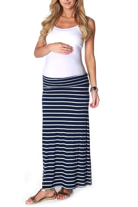 navy blue white striped maternity maxi skirt