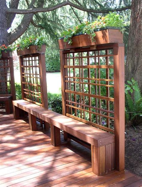 Trellis With Bench Ipe Deck Trellis With Planter And Bench Modern