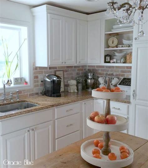 brick backsplash kitchen best 25 brick backsplash white cabinets ideas on