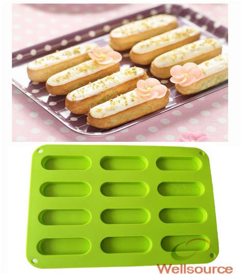 Cetakan Silicone Mold 6 3 15 inch eclairs mold 12 cavity non stick silicone eclair pan eclair 12 forms canoe pan