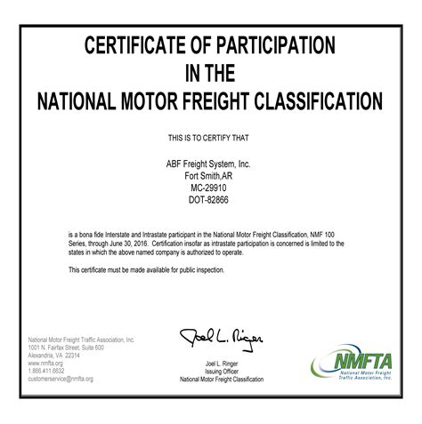 certification letter of participation national motor freight classification impremedia net