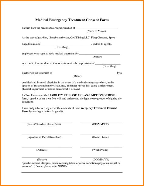 medication consent form template 15 consent form template for minors ledger paper