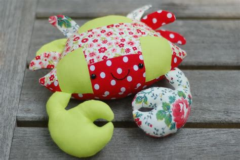 Patchwork Stuffed Animal Patterns - casey the crab free pattern in patchwork whileshenaps