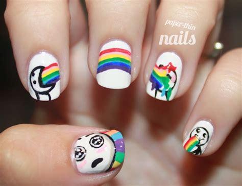 Meme Nail Art - rainbow meme nails by paper thin nails nail art pinterest