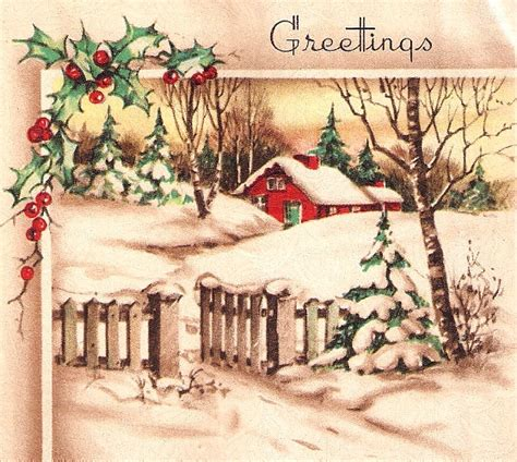 images of vintage christmas scenes vintage christmas card pretty winter scene by paperprizes