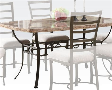 white faux marble top dining table val by acme furniture