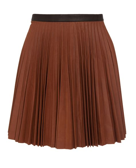 a l c leather pleated skirt in brown lyst