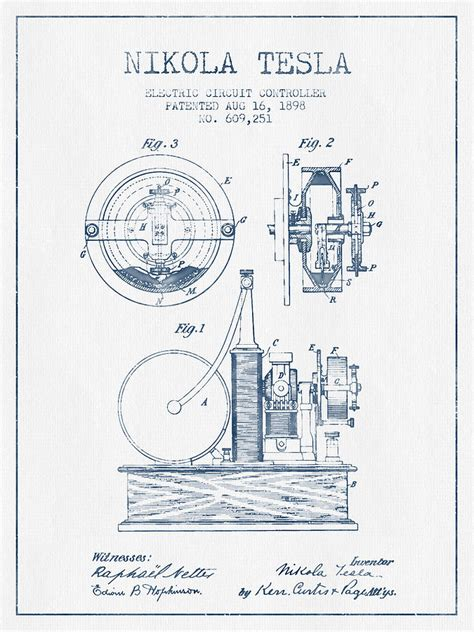 Tesla Drawings Nikola Tesla Electric Circuit Controller Patent Drawing