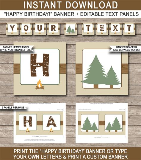 camping party banner template birthday banner editable