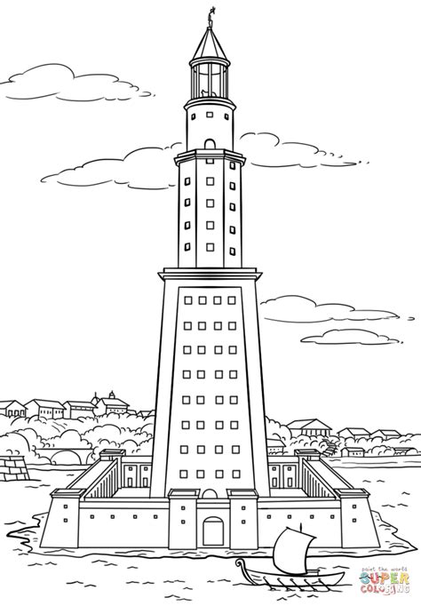 Coloring Pages Of Lighthouse Of Alexandria | pharos lighthouse of alexandria coloring page free