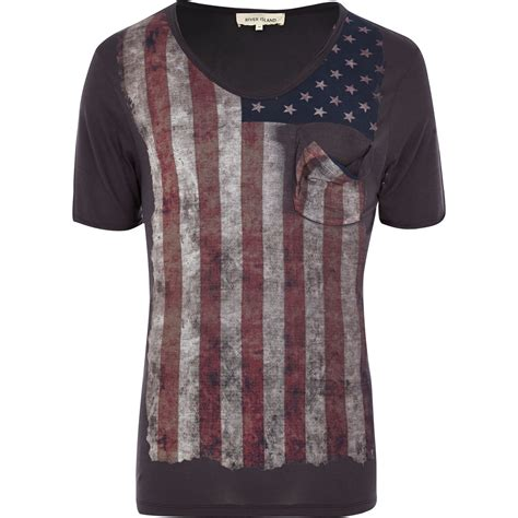 river island black american flag print distressed t shirt