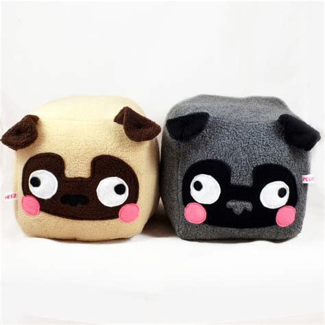 pug plushies pug cube plushie kawaii soft pillow cushion by plusheez
