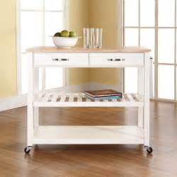 White Kitchen Cart Island by Crosley Furniture Natural Wood Top Kitchen Cart Island W