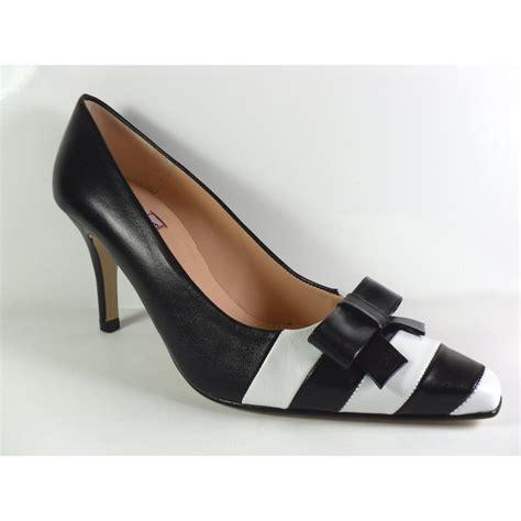 h b espana cressida black white leather court shoe