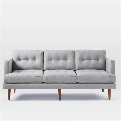 peggy mid century sofa feather grey 202 cm west elm uk