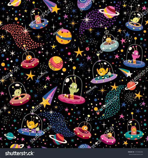 cute alien pattern cute aliens pattern stock vector 131040266 shutterstock