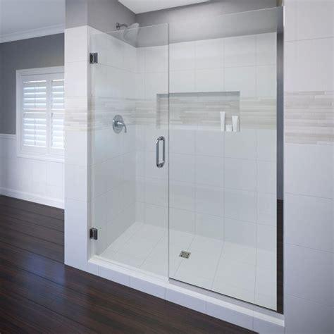 Basco Frameless Shower Doors Basco Celesta 58 In X 76 In Semi Frameless Pivot Shower Door In Chrome With Handle Cela 935 58