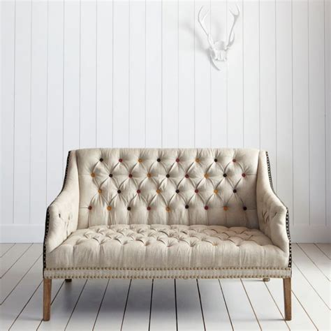 eclectic sofa bath button back 2 seater sofa with coloured buttons