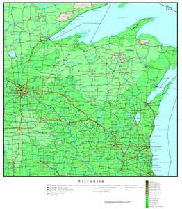 Map Wisconsin by Wisconsin Elevation Map