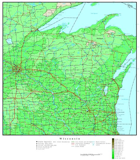 map of wisconsin cities wisconsin elevation map