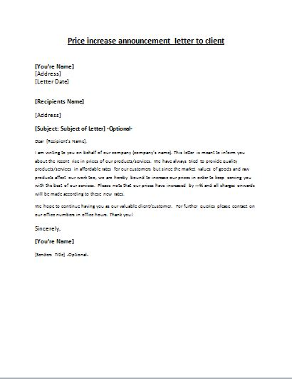 Service Price Increase Letter price increase announcement letter to client letter