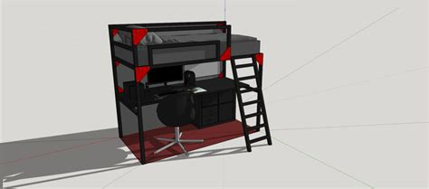 gaming bed gaming setup under a bed sketchup 3d cad model grabcad