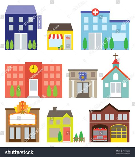 Home Theater Design Nyc vector illustration buildings including store hotel stock