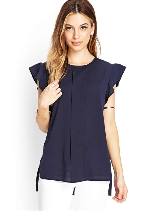 forever 21 pleated woven blouse in blue lyst