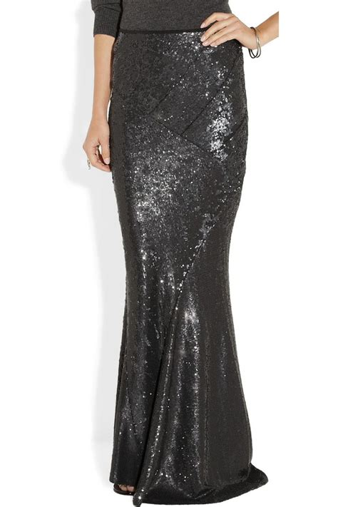 sequined stretch jersey maxi skirt