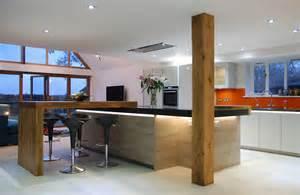 Kitchen Design Sussex Handleless Grey Quartz Worktops And Solid Oak Detail Uckfield