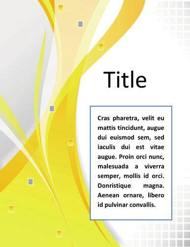 word documentation cover page template very simple and