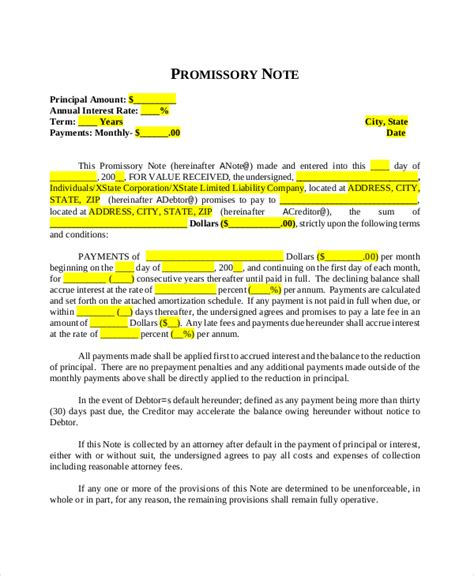 personal loan promissory note template promissory note template 15 free word pdf document