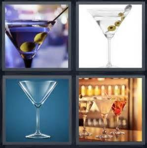 4 Letter Words Drink 4 pics 1 word answer for cocktail olives glass bar