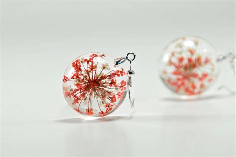 resin flowers for jewelry dried flower resin earrings and white flower earrings
