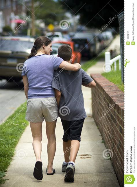 mother walking  son stock photography image