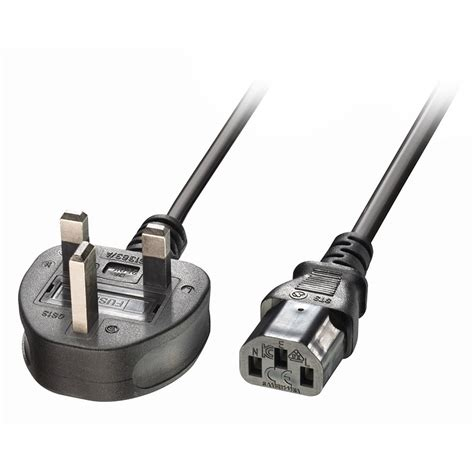 Konektor C13 Or C15 3 Pin 2m uk 3 pin to iec c13 mains power cable black from lindy uk