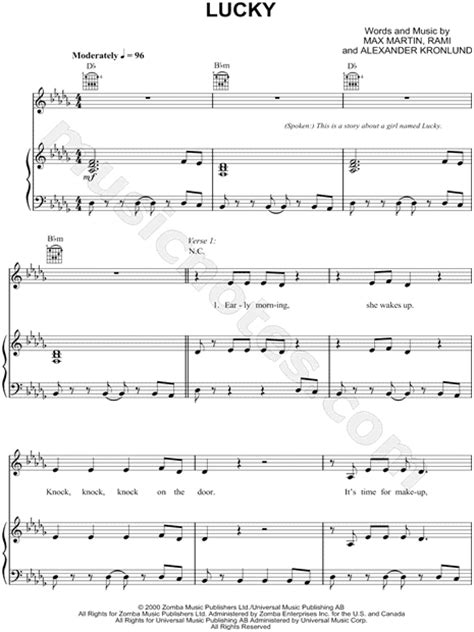 britney spears lucky song free download britney spears quot lucky quot sheet music in db major download