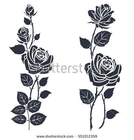 rose and leaf tattoos silhouette of roses and leaves on a white