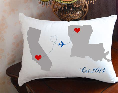 Distance Relationship Pillows by Custom Wedding Pillowstate To State Pillow Coverpersonalized