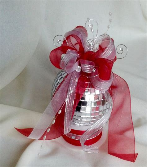 Popular Items For New Years Eve Wedding Decorations Disco Ball Cake Topper With Ribbon Ideas Red