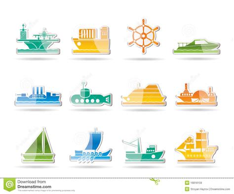 types of boats a z different types of boat and ship icons royalty free stock