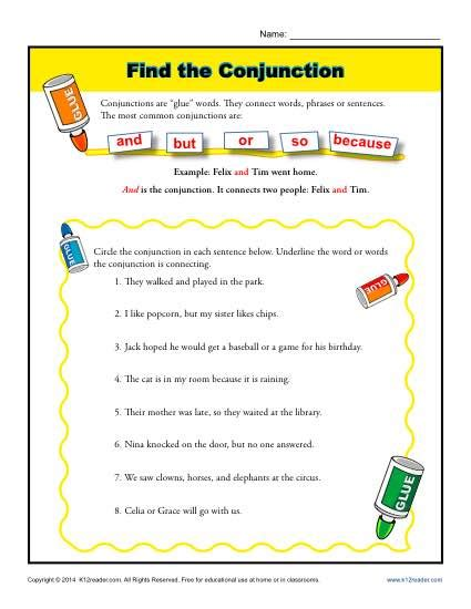Conjunction Worksheets by Find The Conjunction 1st Grade Worksheets