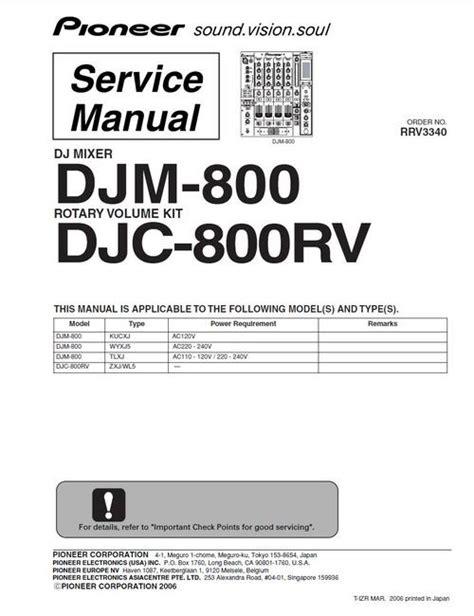 pioneer djm 800 mixer original service manual