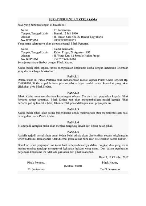 contoh surat perjanjian kerjasama hotel yang wisata dan info sumbar