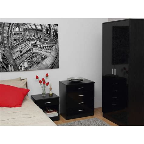 Black High Gloss Bedroom Furniture Sets by Ottawa Black Gloss Black Oak Veneer 3 Bedroom Set