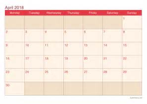 Kalender Vip 2018 April 2018 Printable Calendar Icalendars Net