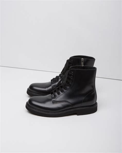 by common projects boots lyst common projects lace up leather combat boots in black