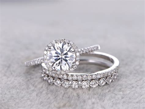 Band Engagement Moissanite Ring Wedding by 3pcs Moissanite Wedding Ring Set Matching Band